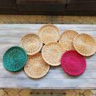 Set 8 wicker plate wall art boho decor rattan baskets jungalow colorful