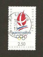 "Timbre 1990 FRANCE N°2633 oblitéré : Logo d'Alberville ""92"" en TB"