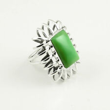 925 Sterling Silver Ring Sz US 7.5, Natural Green Onyx Gemstone Jewelry DJ25