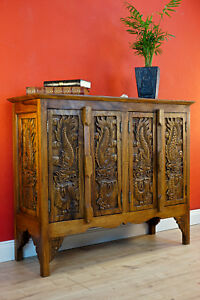 Thailand Solid Wood Dresser Handmade Wood Sideboard Furniture Asian Wardrobe