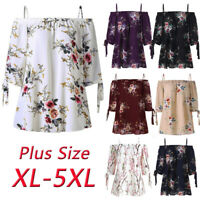 Womens Floral Print Cold Shoulder Tops Tee Casual Blouse Camis Plus Size T-Shirt