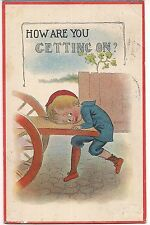 How Are You Getting On? Boy Trying to Get Up Wagon Comic Postcard 1913 BS or SB
