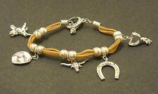 Leather Rawhide Charm Bracelet Silver Tone Charms