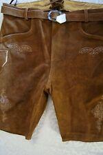 NEW US Sz.44,Germany,Trachten,Lederhosen Shorts w.Belt.Brown,shorter,Oktoberfest