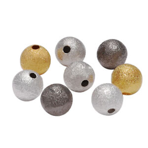 100Pcs Round Copper Spacer Beads Frosted Ball End Beads DIY Jewelry Making