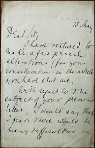 Sir Julian Goldsmid letter sent from 105 Piccadilly, London Mid to Late 1800's