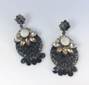BAUBLEBAR Gold-Tone Black Animal Print CRYSTAL & Stone Venette Drop EARRINGS