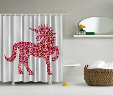 Colorful Unicorn Graphic Shower Curtain Horse Western Polka Dot Fabric Curtain