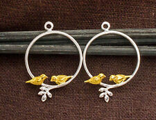 925 Sterling Silver 2  Bird Charms 20mm. Two Tone Gold & Silver