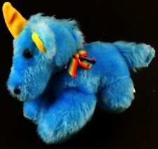 "Brechner Blue UNICORN Plush 7""  with Rainbow Ribbon Stuffed Animal Plush Vintage"
