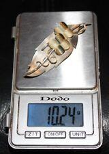 BEAUTIFUL SOLID 14K AND STERLING VINTAGE LEAF BROCH PIN DESIGNER 10.24 G