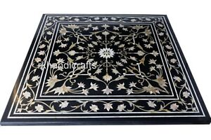 36 Inch Black Marble Table Top with Heritage Art Coffee Table with Elegant Look