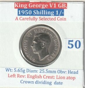 1950 GB George VI, One Shilling (VF condition) (A carefully selected coin)