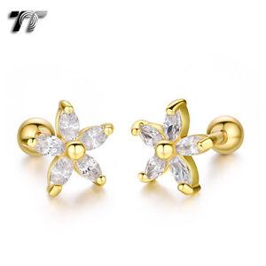 TT Gold Surgical Steel Flower Cartilage Tragus Earrings (TR33J) NEW