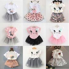 Summer Kids Baby Girls Outfits Clothes T-shirt Tops + Tutu Dress Skirt 2PCS Sets