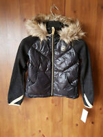 RRP £90 MICHAEL KORS GIRLS COAT Black Quilted Puffer Down Fur Jacket 7-8 Years