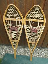 "VINTAGE SNOWSHOES 42"" Long x 12"" Wide GROS LOUIS + Leather Bindings READY TO USE"