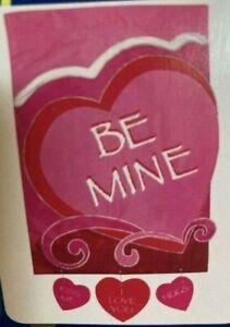 "Decorative Garden Flag Large Valentine's Day ""Be Mine"" Applique Cutout hearts"