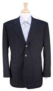 Bespoke! Handmade Black 100% Silk Patch Pocket 2-Btn Blazer Jacket 42R