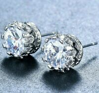 Made with Swarovski Crystals 1.00Ct Round Stud Earrings 14k White Gold