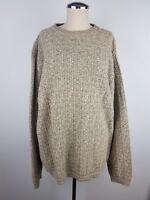 Bill Blass Men's L Sweater Knit Crew Neck Long Sleeves Beige