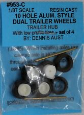 Dennis Aust HO #953-C 10 Hole Aluminum Trailer Duals Wheel Set 1/87scale NOS