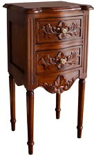 Solid Mahogany French Rococo Bedside Table / Cabinet 2 Drawers Bs039