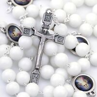 Divine Mercy Catholic Rosary Beads White Glass For Women Color Medals