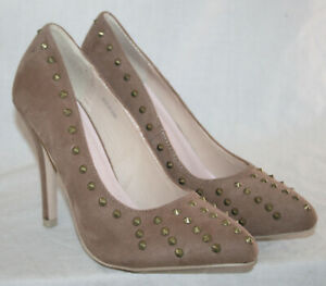 """LADIES 4.5"""" HEEL TAUPE FAUX SUEDE SLIP ON SHOE WITH A SPIKE STUD TRIM IN SIZE 6"""