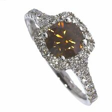 18ct WHITE GOLD FANCY COGNAC 1.74ct HALO NATURAL DIAMOND ENGAGEMENT RING