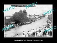OLD LARGE HISTORIC PHOTO OF NATOMA KANSAS, THE CAR v HORSE RACE IN MAIN St c1910