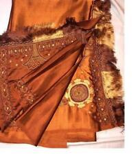 Autumn Spice Beaded Sari Indian Saree Bollywood Fabric Panel Drape NEW