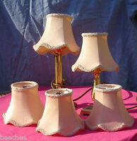 VTG PINK 5 SET SMALL PAGODA SHADES FROM 5 ARM CEILING CHANDELIER 6 SIDED