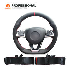 Leather Suede Steering Wheel Cover for Mercedes Benz C200 C300 B250 A200 CLA220