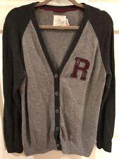 H&M Sweater Cardigan V Neck Varsity Letterman Cotton Angora Blend Women's Sz M