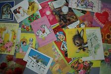 Lot of 27 assorted greeting cards from the 1950's and 60's used; great for art