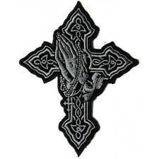 Embroidered Praying Hands in Cross Sew or Iron on Patch Biker Patch