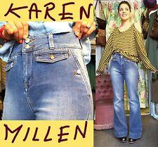 Karen Millen High Waisted Blue Washed Flare Bootcut Festival Boho Jeans, 38/10