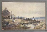 Wonderful Original 19th Century Watercolour of a Coastal Scene by J Morris