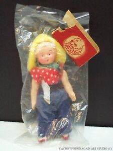 Vintage Celluloid Jointed Doll Farm Girl Clothes Japan Doll House Toy Package