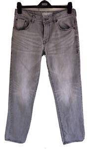 "St George By DUFFER Premium Cotton Straight Stretch Denim Jeans 32""W 30""L Grey"