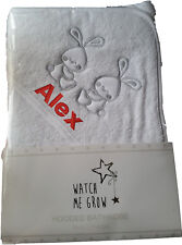 Personalised Embroidered Baby Hooded Towel, gift, any text, twins, bunny, rabbit