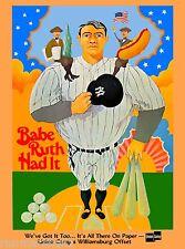 Babe Ruth New York Yankees Baseball United States Travel Advertisement Poster