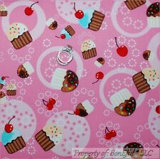 BonEful Fabric FQ Cotton Quilt Pink White Girl Red Birthday Cupcake S Cherry Dot