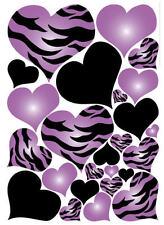 HEARTS purple & black zebra print wall stickers 25 big decals animal love teen