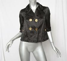 JUICY COUTURE Womens Black Ruched 3/4-Sleeve Short Cropped Bow Jacket Coat P NEW