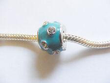 1 Metal Enamel Charm Bead for European/Charm Bracelets - Turquoise/Rhinestones