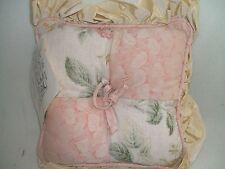 """Baby Pillow Or Accent CottonTail Designs Pink Green Beige 100% Cotton Tag 9""""X 9"""""""