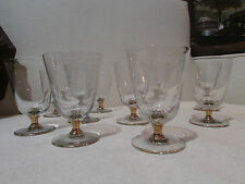 6 anciens petits verres a pied a vin en verre et doré epoque 1950