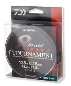 Daiwa TOURNAMENT 8 BRAID EVO - 135m / DarkGreen - Various sizes